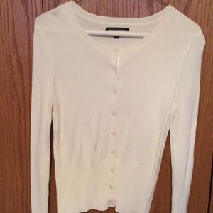 Express cream colored long sleeve fitted sweater.